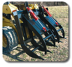 Skid steer Split-Top Grapple Rake attachment.