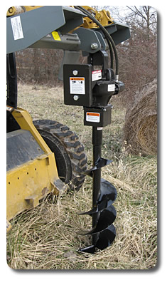 SitePro skid steer hydraulic post hole digger attachment.